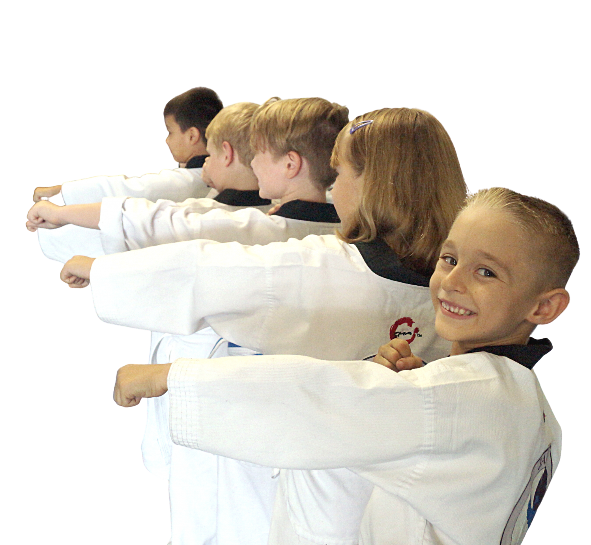 young students in middle section punch position